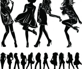 Beautiful girls silhouette design vector material 04