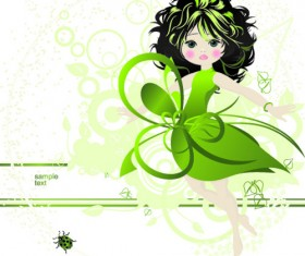 Beautiful green dress girl vector background