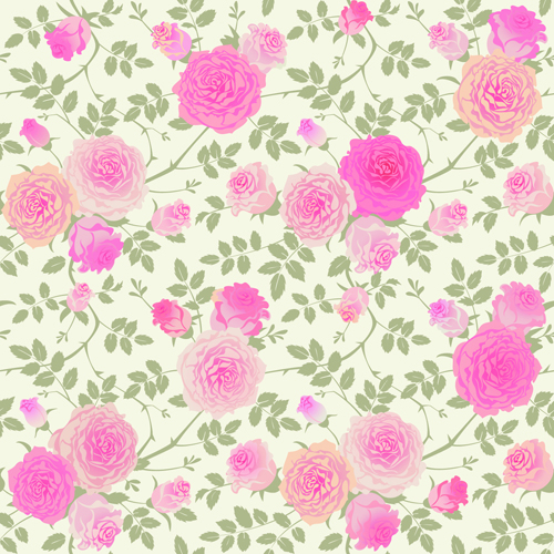 Beautiful pink rose seamless pattern vector