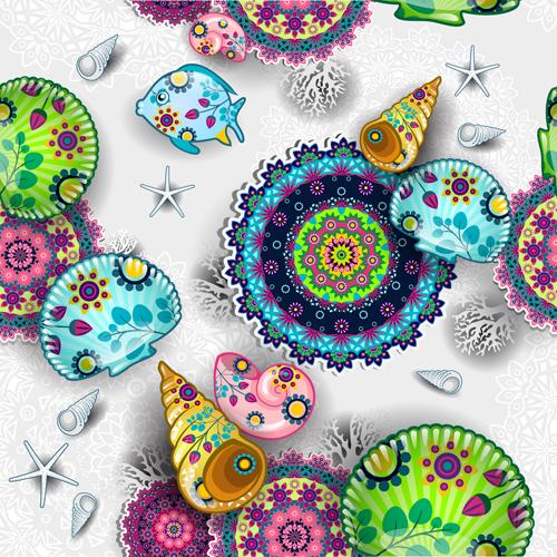 Beautiful shells with fish seamless pattern vector