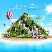 Beautiful summer travel psd background