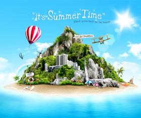 Beautiful summer travel psd background
