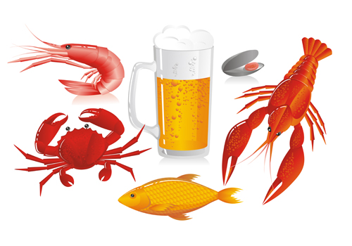 Beer and seafood vector material