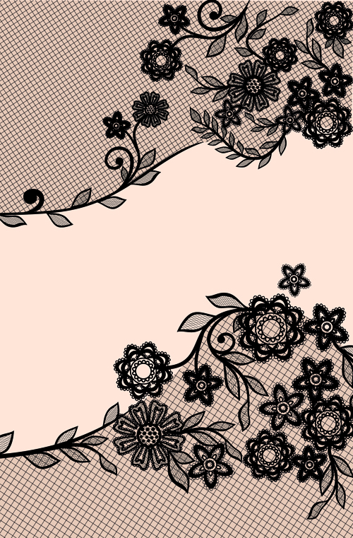 Black Lace Floral Creative Background 01 Vector