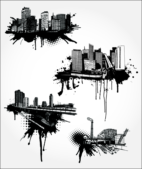 Black with white city building design vector 02 free download