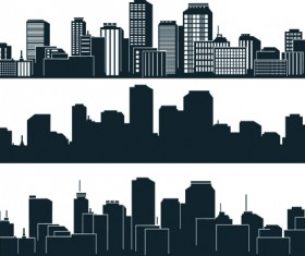 Black with white city building design vector 03