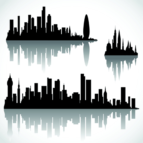 Black With White City Building Design Vector 04 Vector