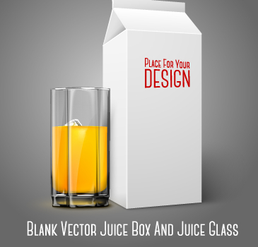 Blank juice box and juice cup vector material - Vector ...