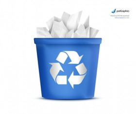 Blue recycling bin icon psd