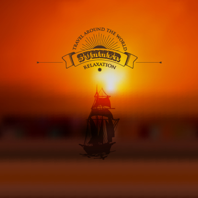 Blurred sunset background with sailboat vector