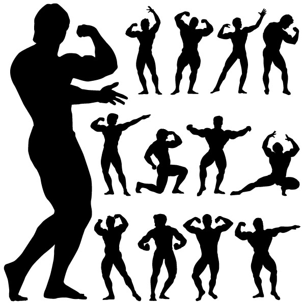 Silhouette of business people men vector free psd vector icons - Bodybuilding Man Silhouette Vector Vector People Vector