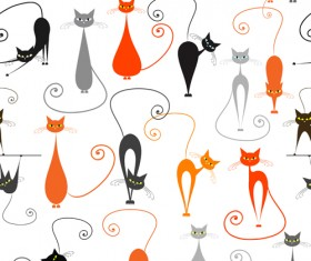 Cartoon cat seamless pattern vector graphic