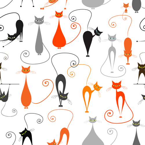 Cartoon cat seamless pattern vector graphic - Vector Animal ...
