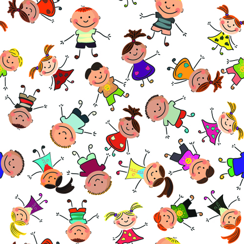 cartoon kids seamless pattern design vector - Cartoon For Kids Download