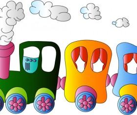 Cartoon small train cute vector