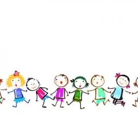 Children holding hands vector material 01
