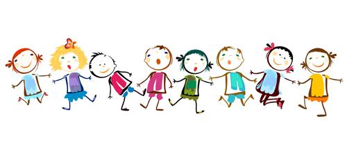 Children holding hands vector material 02
