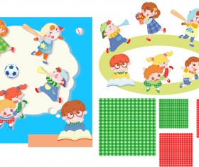 Children playing with pattern vector