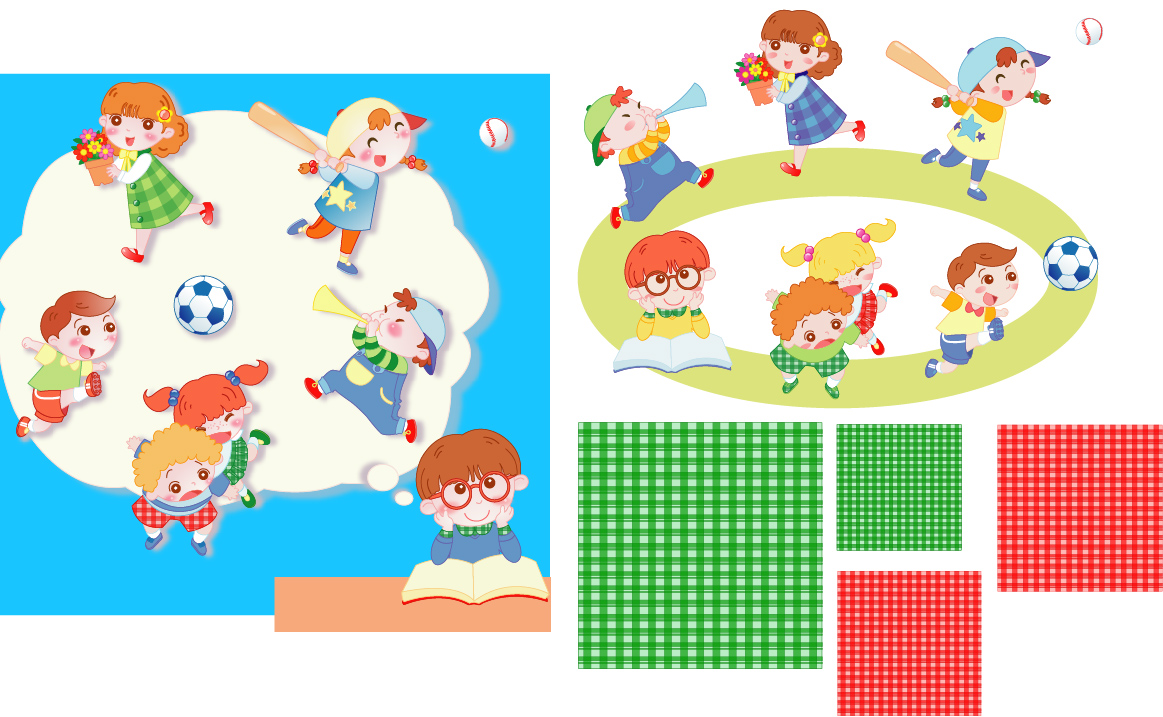 Children playing and pattern vector
