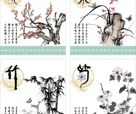 Plum orchid bamboo and chrysanthemum china style vector