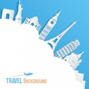 Link toClassic buildings with travel background vector 04