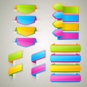 Colored bookmarks with ribbons vector graphics