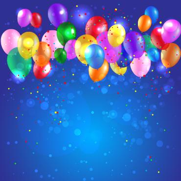 Colored confetti with happy birthday background vector 01 - Vector Background, Vector Birthday ...