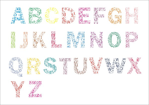 colored letter alphabet creative vector free download