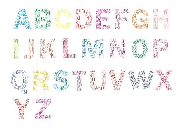 Colored Letter Alphabet Creative Vector