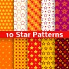 Different star seamless patterns vector