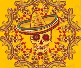 Creative floral skulls frame vector background 01