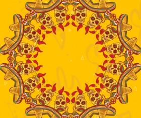 Creative floral skulls frame vector background 03