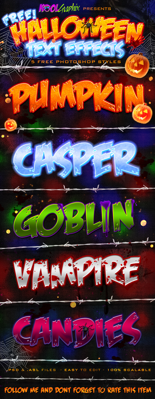 Creative halloween font style Photoshop Styles free download
