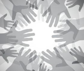 Creative hands gray background vector
