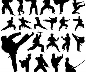 Creative martial art vector silhouettes