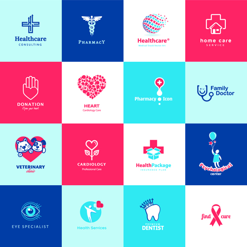 Creative medical and healthcare logos vector set 02 vector logo free