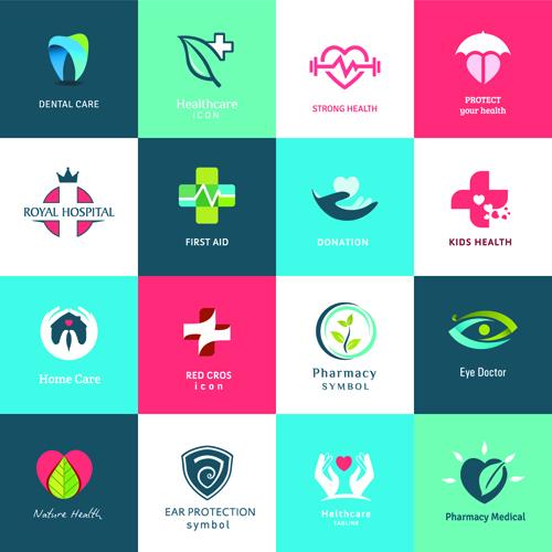 Creative medical and healthcare logos vector set 06