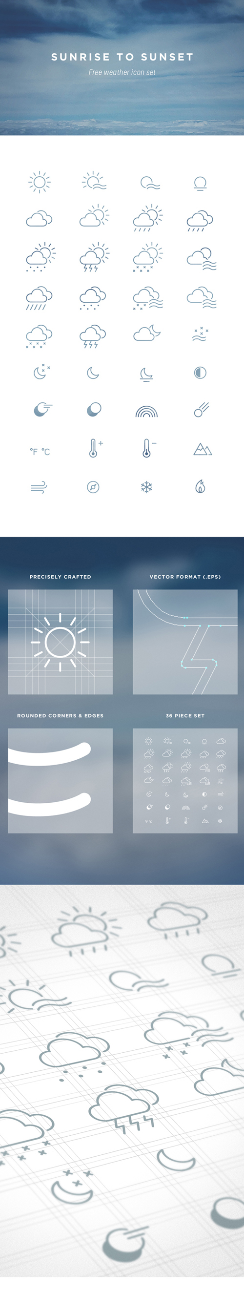 Creative outline weather icons vector