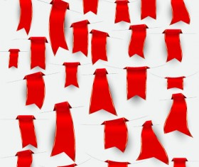 Creative red ribbons bookmarks vector set 02