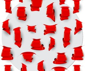 Creative red ribbons bookmarks vector set 04
