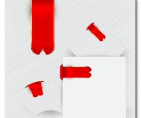 Creative red ribbons bookmarks vector set 05