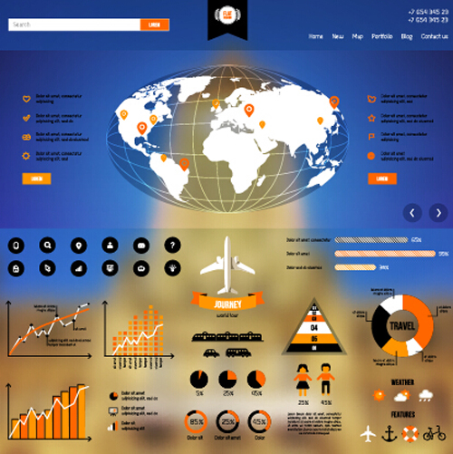 Creative world map and infographics vector graphics 02