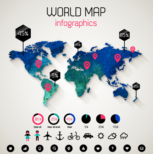 Free EPS file Creative world map and infographics vector graphics 04 ...