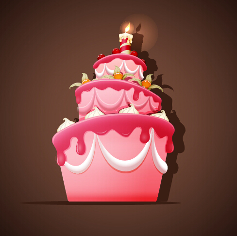 Cute Birthday Cakes Free Vector Background 01 Vector