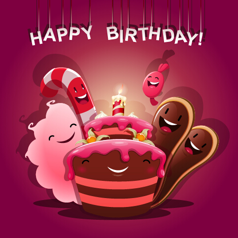 Cute birthday cakes free vector background 02 free download