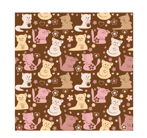 Cute cats vector seamless pattern