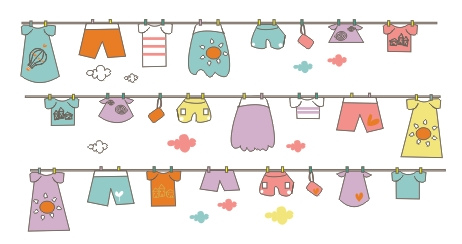 Cute hand drawn hang the clothes vector background download name cute