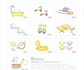Cute kids toy with elements icons vector 02
