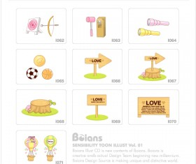 Cute kids toy with elements icons vector 04