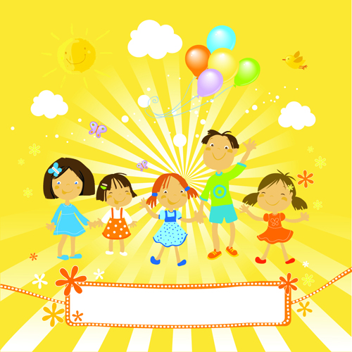 Cute kids with balloon background vector – Over millions ...